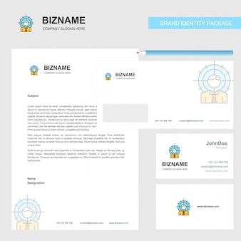 Target  business letterhead, envelope and visiting card
