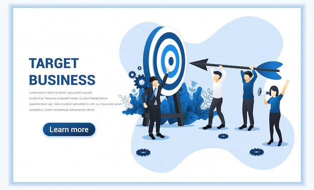 Target business web banner concept design with people holding an arrow aimed at the target board