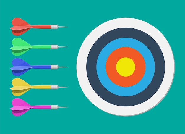 Target and dart arrow. goal setting. smart goal. business target concept. achievement and success.  illustration in flat style