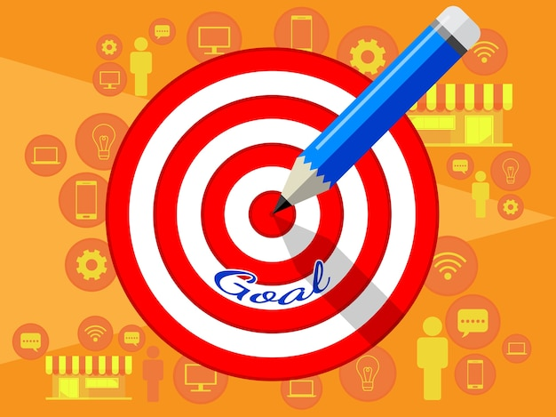 Target dart and pencil template design for business strategy