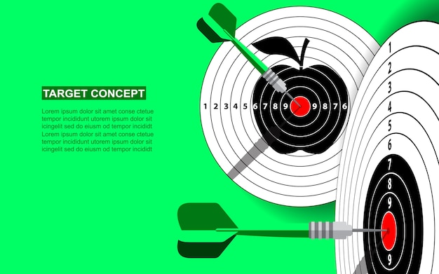 Target dart template for business goal. shooting target success market concept green background