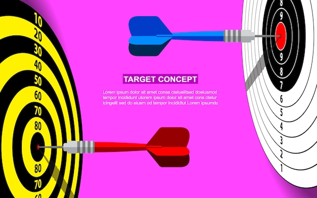 Target dart template for business goal. shooting target success market concept pink background