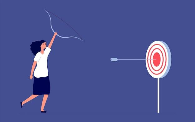 Целевая цель. амбиции сотрудницы, успех бизнес-леди. плоский фокус или лидерство, стремление вперед и концепция вектора прогресса. достижения профессионала, иллюстрация амбиций работника
