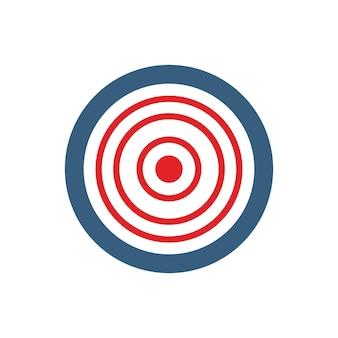 ターゲットアイコン。ダーツターゲットシンボル。照準ボタン。白い背景で隔離のフラットベクトルの概念図