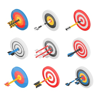 Target icon set. isometric set of target vector icons for web design isolated on white background