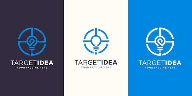 Target idea logo designs template. symbol bulb combined with target sign.
