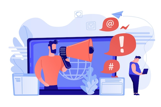 Target individual with laptop attacked online by user with megaphone. internet shaming, online harassment, cyber crime action concept. pinkish coral bluevector isolated illustration