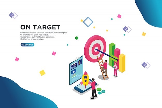 On target isometric vector illustration concept