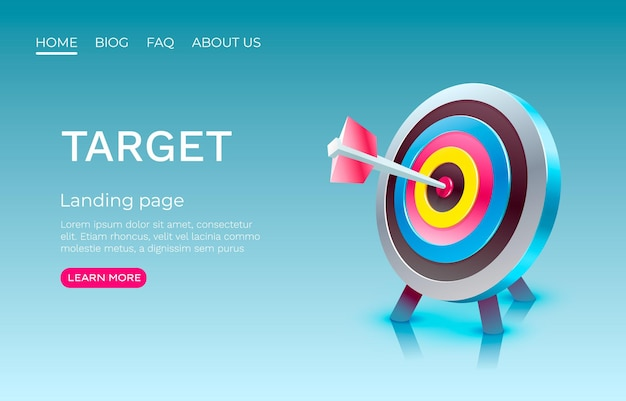 Target landing page banner business d icon vector