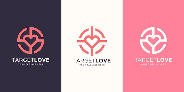 대상 사랑 로고 디자인 템플릿입니다. 그림 심장 대상 기호 결합입니다.
