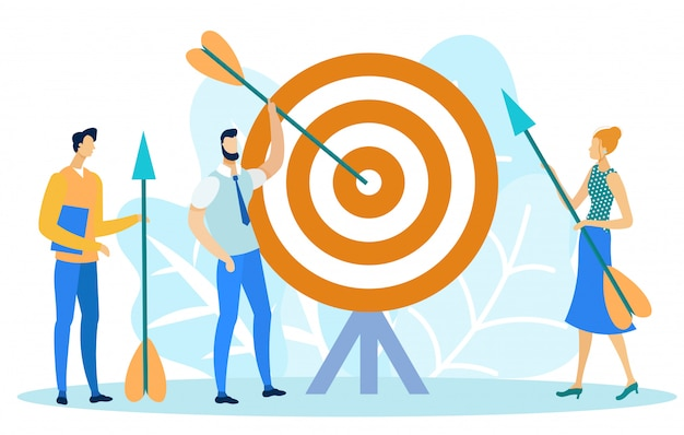 Target marketing, man taking arrow, achieve goal.
