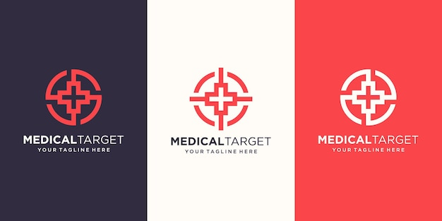 Target medical logo designs template. symbol plus combined with target sign.