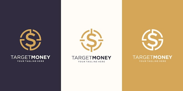 Target money logo designs template. symbol dollar combined with target sign.