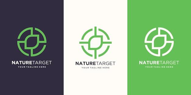 Target nature logo designs template. illustration leaf combined with target sign.