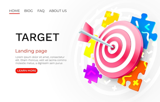 Target puzzle landing page banner business d icon vector