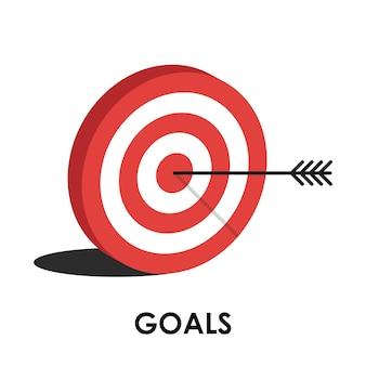 目標。赤い狙い、矢印、アイデアの概念、完璧なヒット、勝者、ターゲットゴールアイコン。成功の抽象的なピンのロゴ。ビジネス戦略と挑戦の失敗の概念。 Premiumベクター