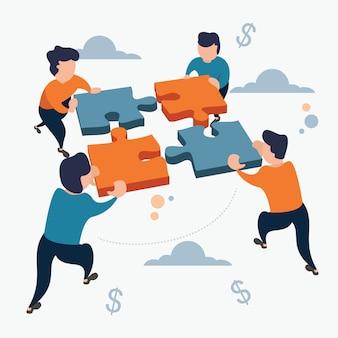 Бизнес target team work puzzle плоский мультяшном стиле