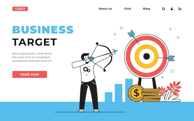 Target web page. business strategy landing page with office workers team, focus, communication and success concept. vector illustration target strategy website design
