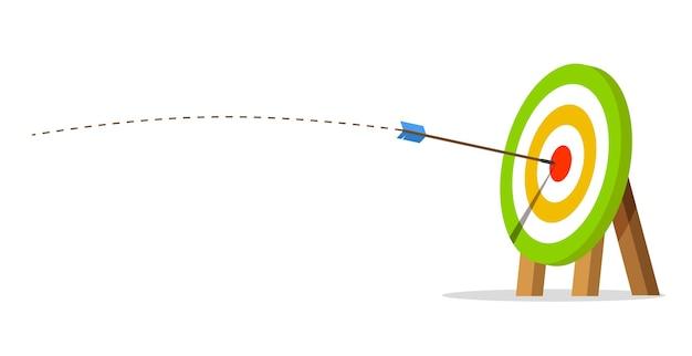 矢印の付いたターゲットが中央に当たる。ビジネスの課題と目標達成の概念。飛行経路。