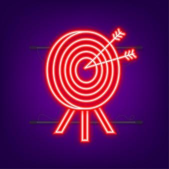 矢印アイコンの概念の市場目標でターゲットを設定します。ネオンアイコン。ベクトルイラスト。