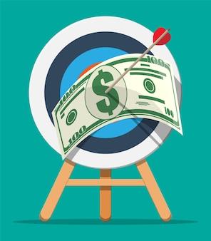 Цель со стрелкой и долларовой банкнотой. постановка целей. умная цель. бизнес-целевая концепция. достижение и успех.