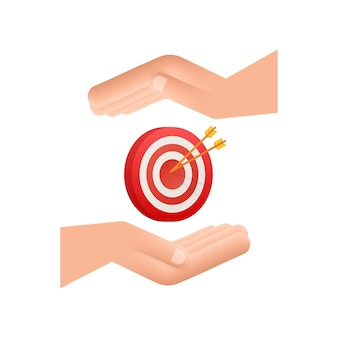 Target with an arrow on hands flat icon concept market goal vector picture image