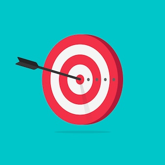 Target with arrow icon flat cartoon isolated