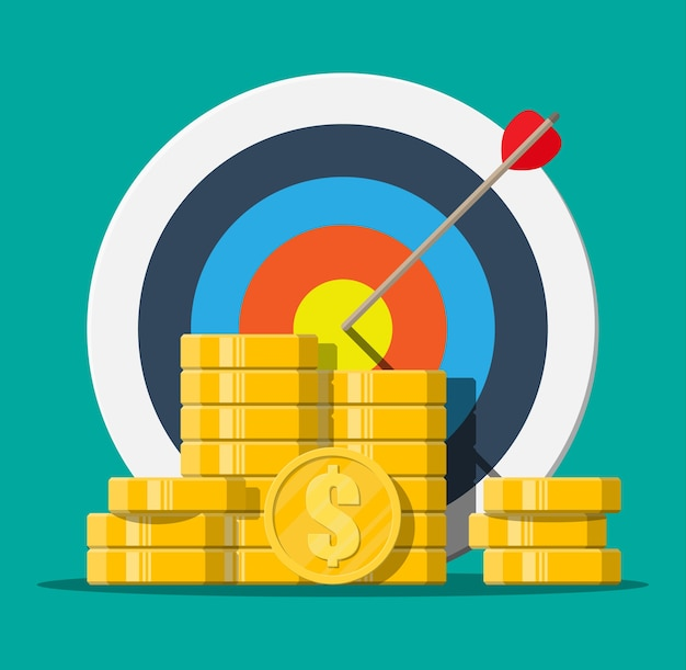 Target with arrow and pile of gold coins. goal setting. smart goal. business target concept. achievement and success, illustration in flat style
