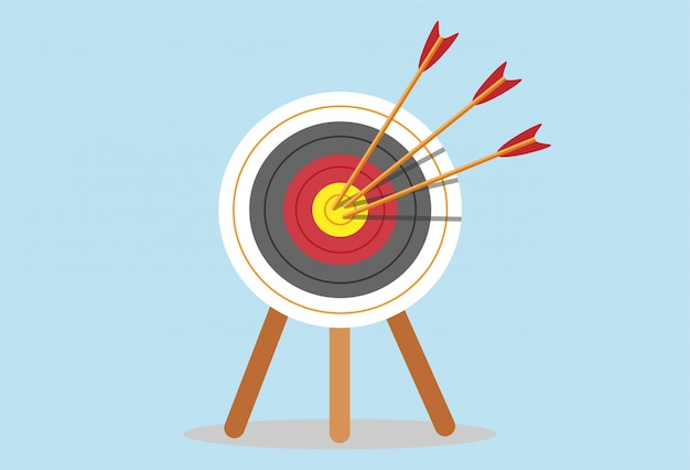 Target with arrow standing on a tripod. goal achieve concept
