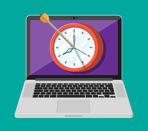 Target with bow arrow and clock on laptop screen. time management, planning, business targeting and smart solutions. deadline and in time concept. vector illustration in flat style