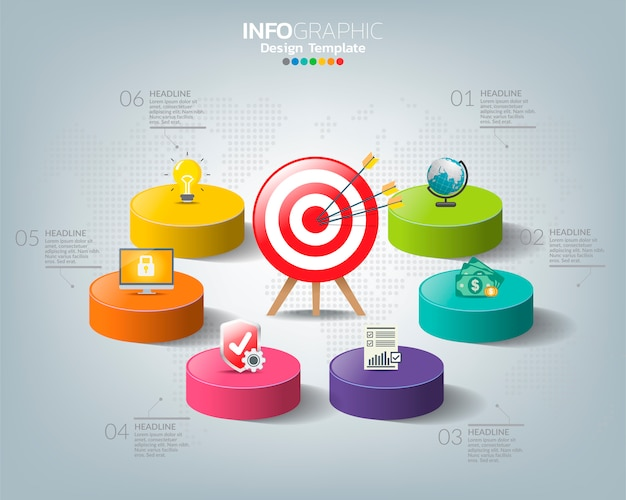 Target with icons and four options with numbers and text, infographic template.