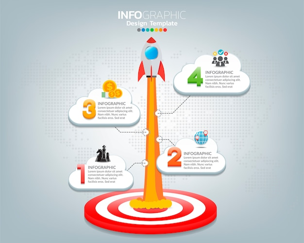 Target with rocket and four options with numbers and text, infographic template.