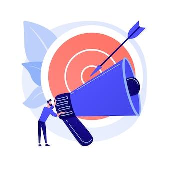타겟 광고 캠페인. 프로모션 발표, 고객 매력, 프로모션 확성기 플랫 남성 캐릭터 컨셉 일러스트에서 외치는 마케팅 무료 벡터