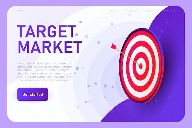 대상 광고 일러스트 컨셉, 방문 페이지 템플릿. 현실적인 모니터, 온라인 타겟팅 광고 개념의 빨간색 목표