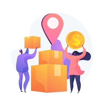 Targeted delivery, express service, shipment. address shipping, convenient paid service. deliveryman and addressee cartoon characters. vector isolated concept metaphor illustration.
