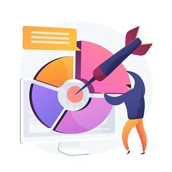 ターゲットを絞ったマーケティングレポート、ビジネスプレゼンテーション。統計を説明するビジネスマンフラットキャラクター。オンライン社会アンケート、世論調査、結果分析。
