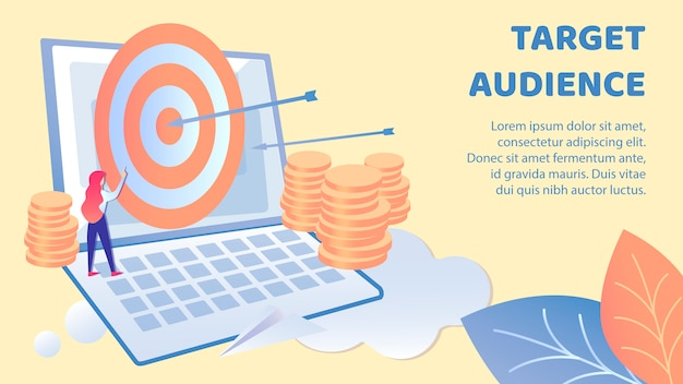 Targeting audience flat banner vector template