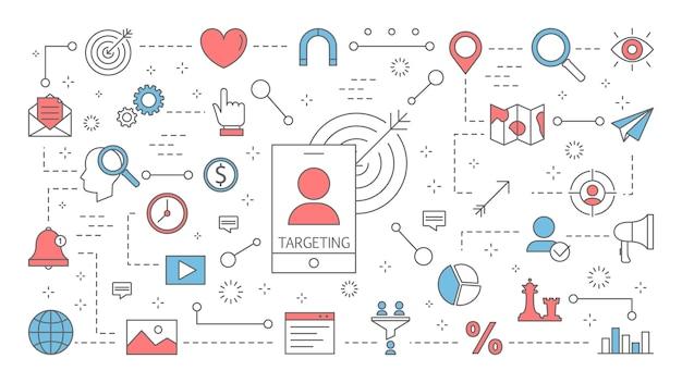 타겟팅 개념. 성공을위한 비즈니스 마케팅 전략의 아이디어. 경쟁과 도전. 고객 유치에 중점을 둡니다. 화려한 라인 아이콘의 집합입니다. 삽화