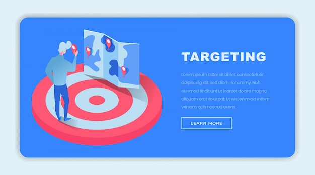 Targeting isometric landing page template