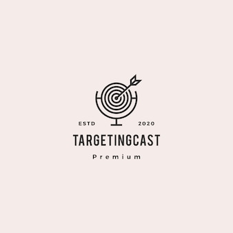 Targeting podcast logo hipster retro vintage icon for marketing blog video tutorial channel radio broadcast