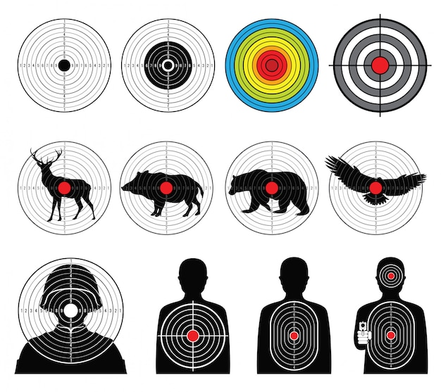 Targets for shooting with silhouette man and animals  set