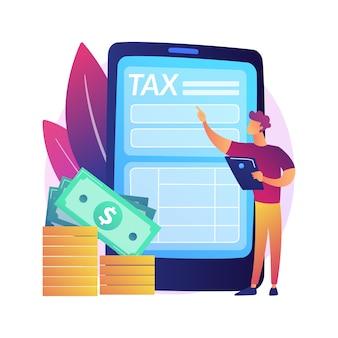 Погашение тарифа. компенсация за онлайн-услуги. долг, упущенная задача, вознаграждение. вмененные затраты и завышенные налоги. человек, стоящий с телефоном в руках. изолированные концепции метафоры иллюстрации.