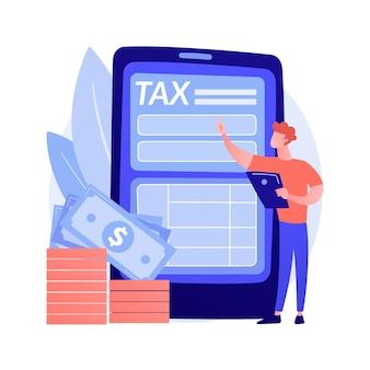 関税返済。オンラインサービスを補償します。義務、仕事の見落とし、報酬。帰属コストと過剰課税。携帯電話を手に立っている男。ベクトル分離された概念の比喩の図。