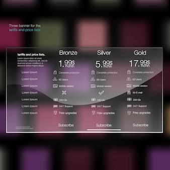 Tariffs and price list web elements plan hosting