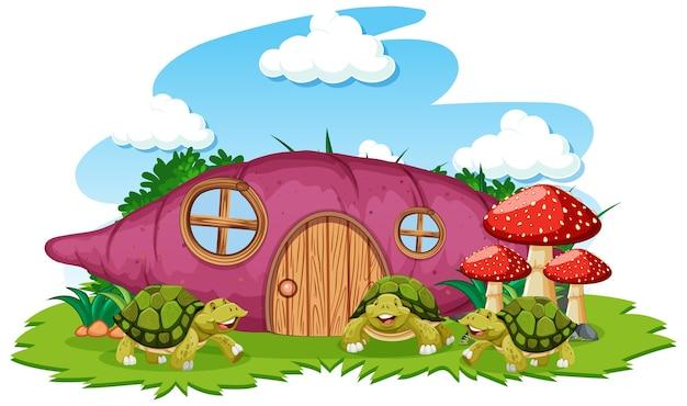 Дом таро с мультяшном стиле трех черепах на белом фоне