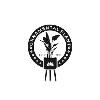 냄비 장식용 식물 로고 영감 디자인의 토란 식물