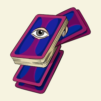 タロットカード手描きのベクトル図を背景に分離