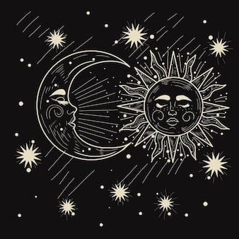 Tarot moon and sun