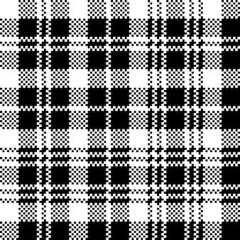 타탄 블랙 시계 픽셀 격자 무늬 원활한 패턴
