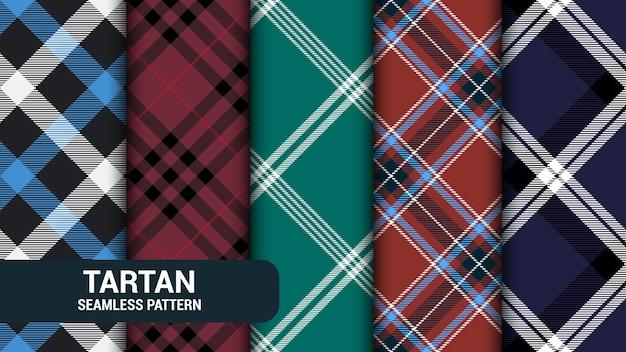Tartan checkered plaid seamless pattern collection